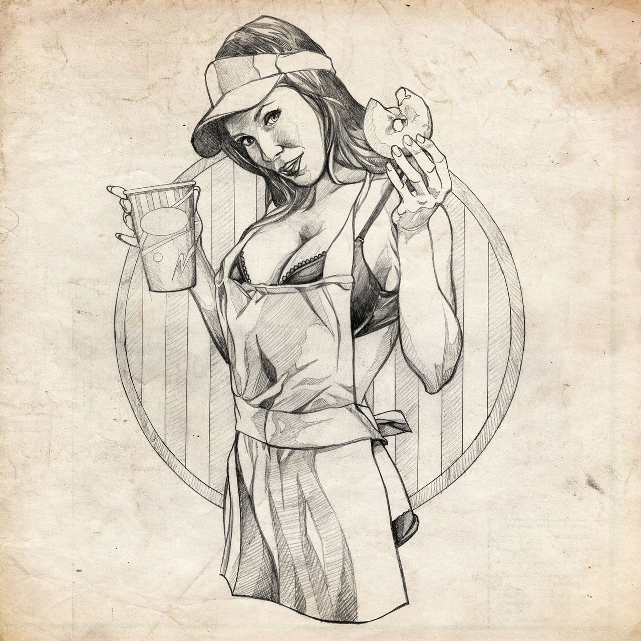 Drawn pin up  traditional Benke33 by Pinup Girl Coffee