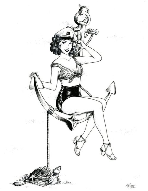 Drawn pin up  us navy ~Pin pinup anchor # #