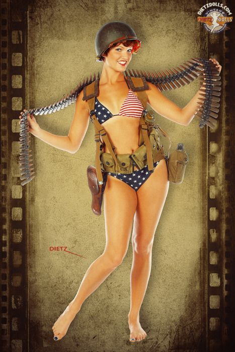 Drawn pin up  ww2 army Best on about 15 girl