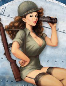 Drawn pin up  ww2 army Art digital up Girls by
