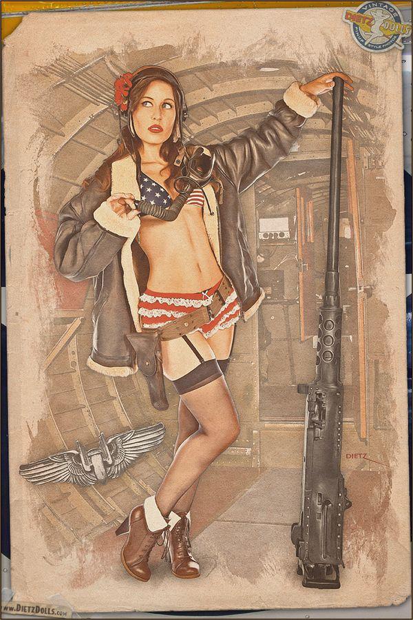Drawn pin up  ww2 army WW2 504 Jacket of bikini