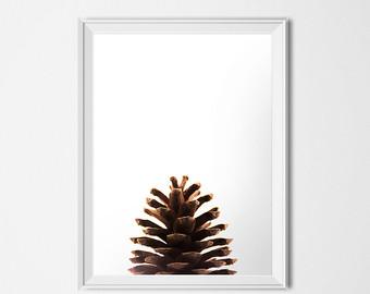 Drawn pine cone Etsy print Minimalist Cone Pine