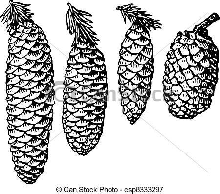 Pine Cone clipart black and white Different csp8333297 Vectors Illustration Four
