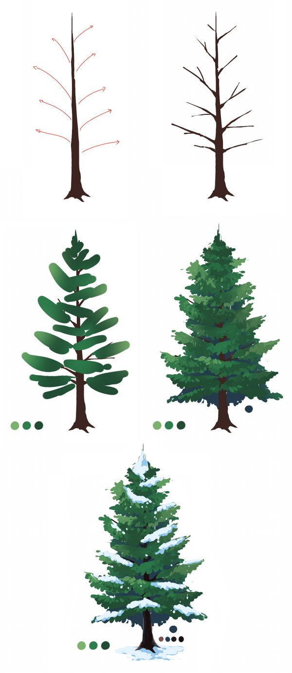 Drawn fir tree easy Find Art Pine on Painting