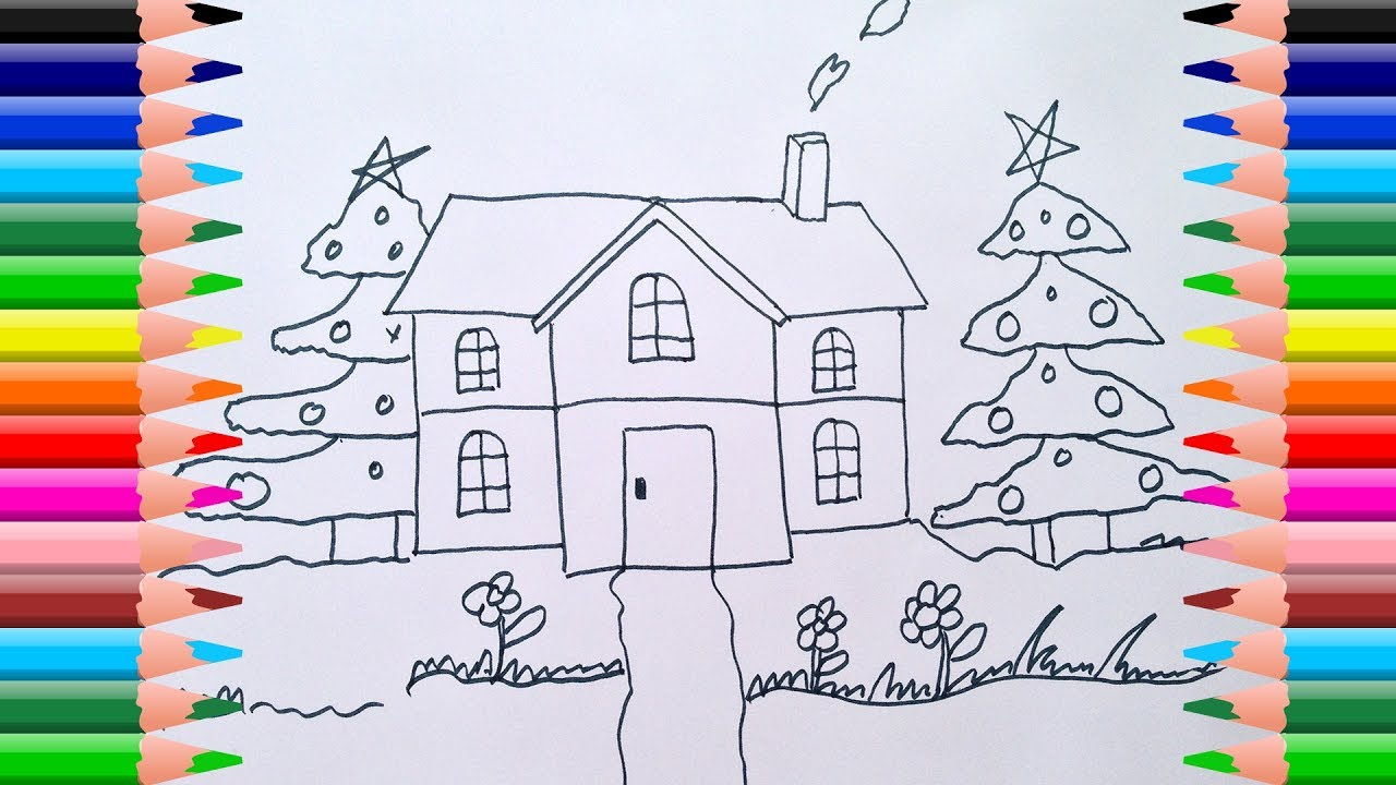 Drawn pine tree child Tree Draw Colouring Learn Noel