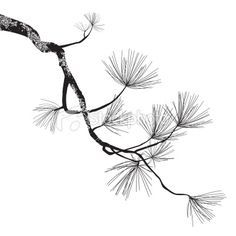 Drawn pine tree japanese Tattoo red brainstorm pine and