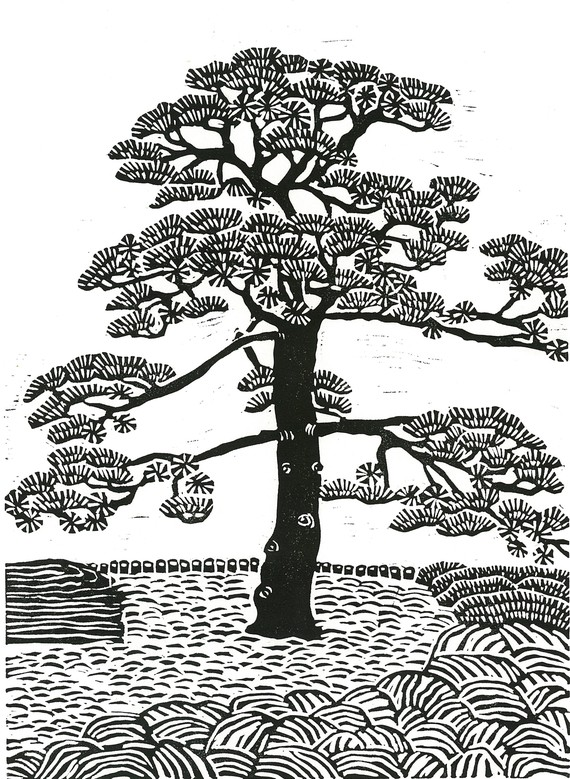 Drawn pine tree japanese Linocut 9x13 TREE to and