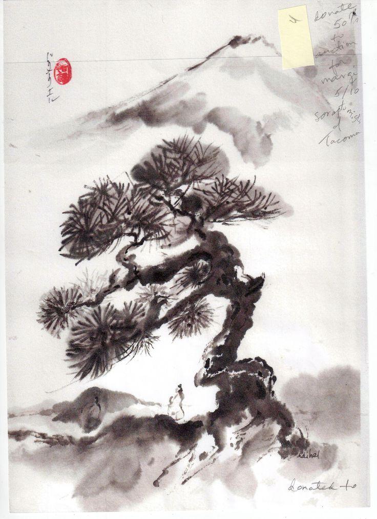 Drawn pine tree japanese Drawing tree con con drawing