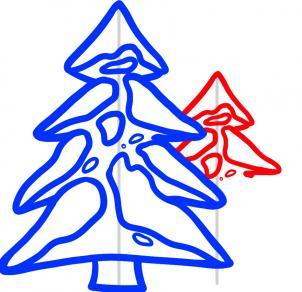 Drawn pine tree winter tree To winter Step the winter