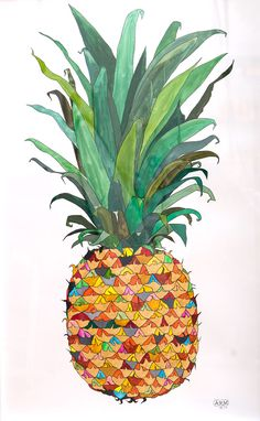 Pineapple clipart single fruit Illustration : by Macgregor Andy