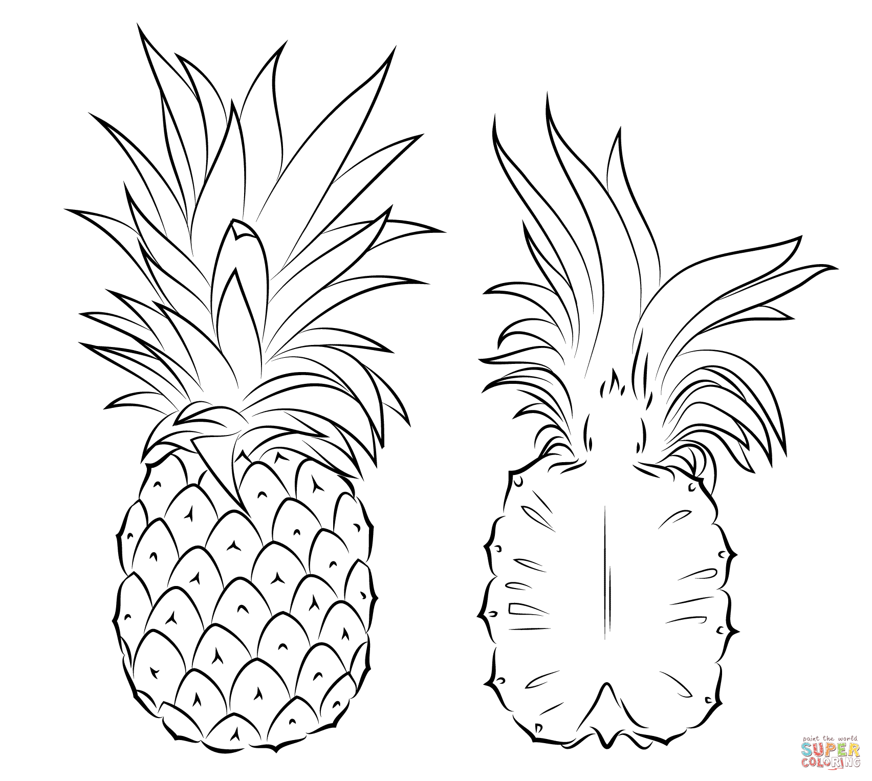 Pineapple clipart coloring page Drawing Cross Pineapple Pages A