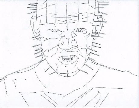 Drawn pinhead bulletin Pages Horror Villians Coloring Horror