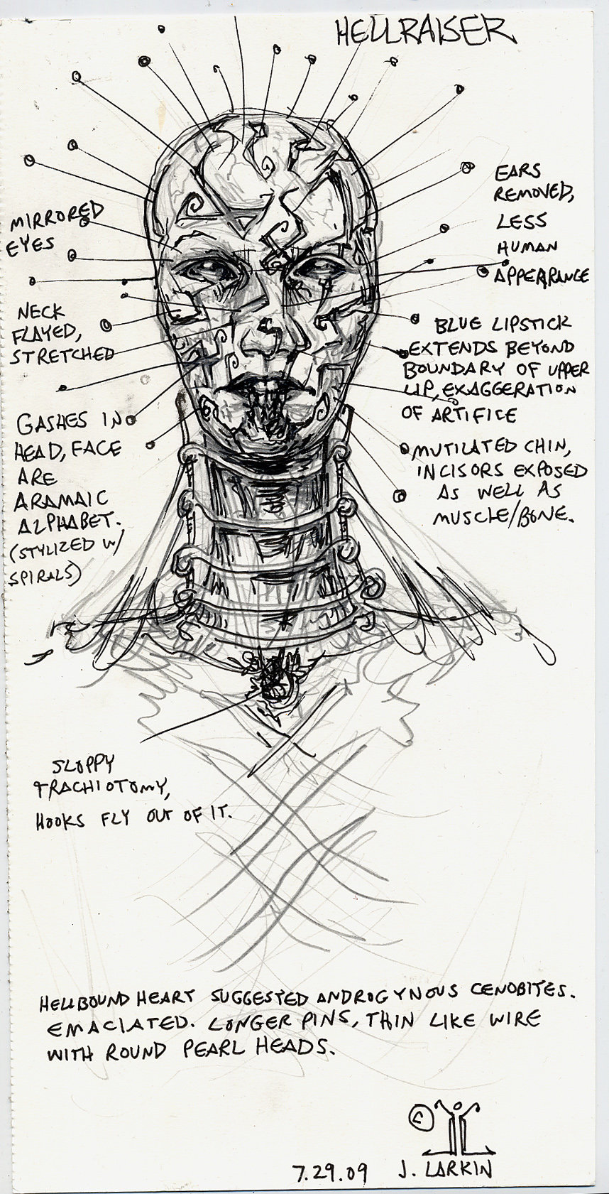 Drawn pinhead white Larkin DeviantArt redesign Hellraiser art