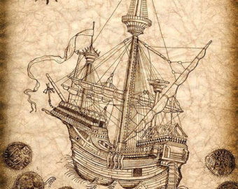 Drawn pirate antique Vintage Drawing Pirate Pirate Galleon
