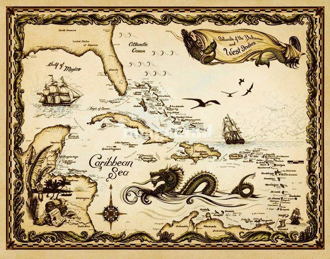 Caribbean clipart pirate map Images best on about 277