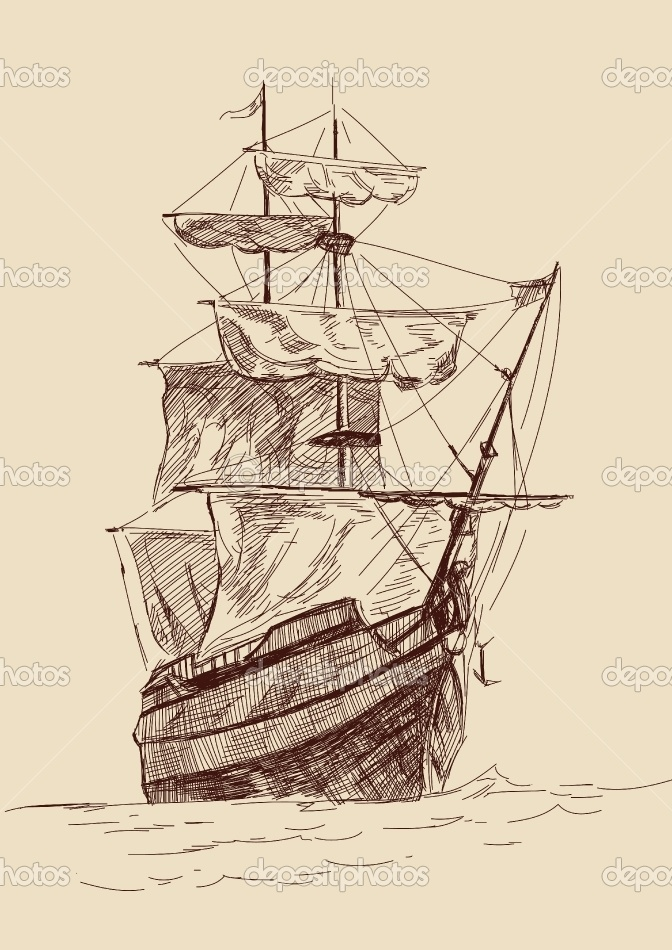 Drawn pirate antique Ships Vintage old Flint illustration