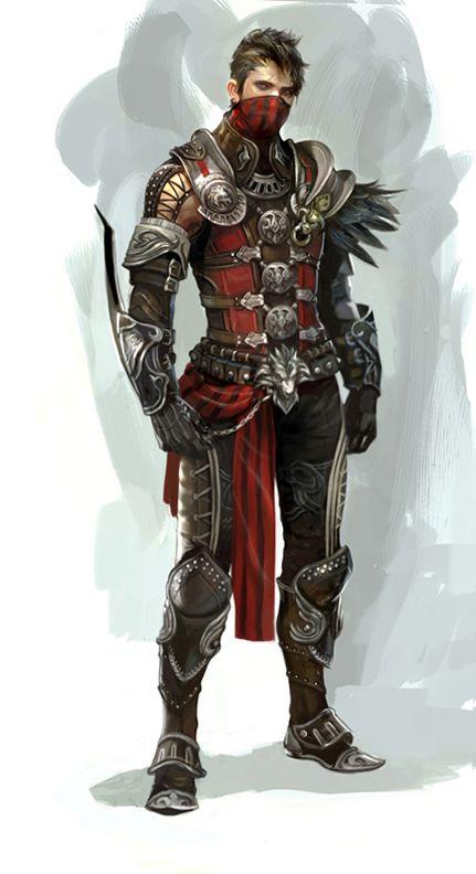 Drawn pirate armored Fantasy  fantastic armor down