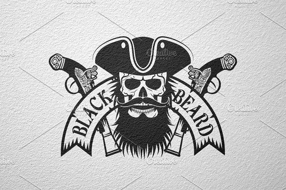 Drawn pirate beard Logo Templates pirate Black logo