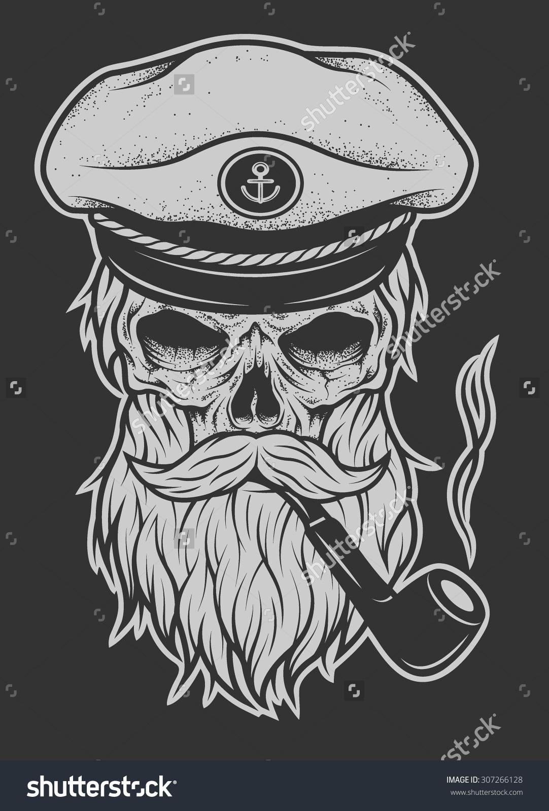 Drawn pirate beard Skull  with sailor Projeto