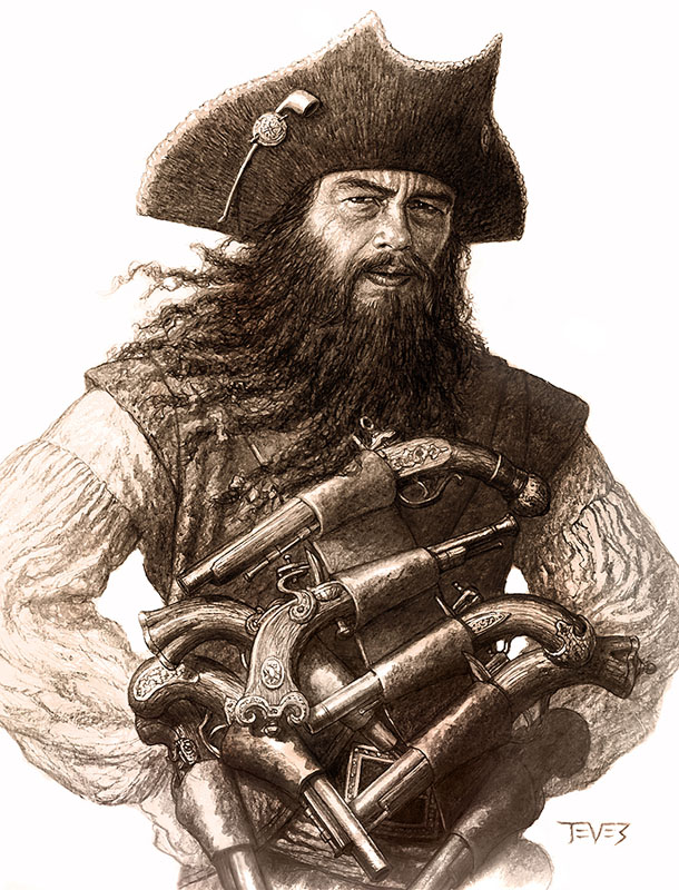 Drawn pirate blackbeard Famous Pirate Blackbeard Find pirates