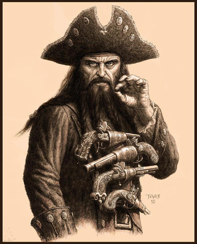 Drawn pirate blackbeard #pirate Black Tattoo #pirate Beard