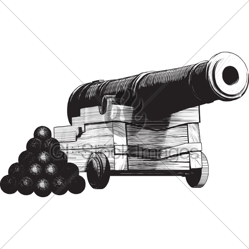 Drawn pirate cannon Stock Navy Cannon GL Standard