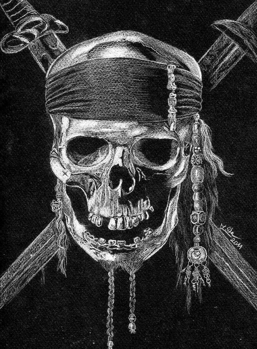 Drawn flag caribbean Skull  on by Pearl