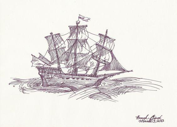 Drawn pirate classic Sailing • Drawing world's Ship