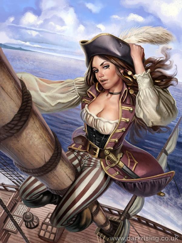 Drawn pirate lady pirate Art Digital Digital by woman
