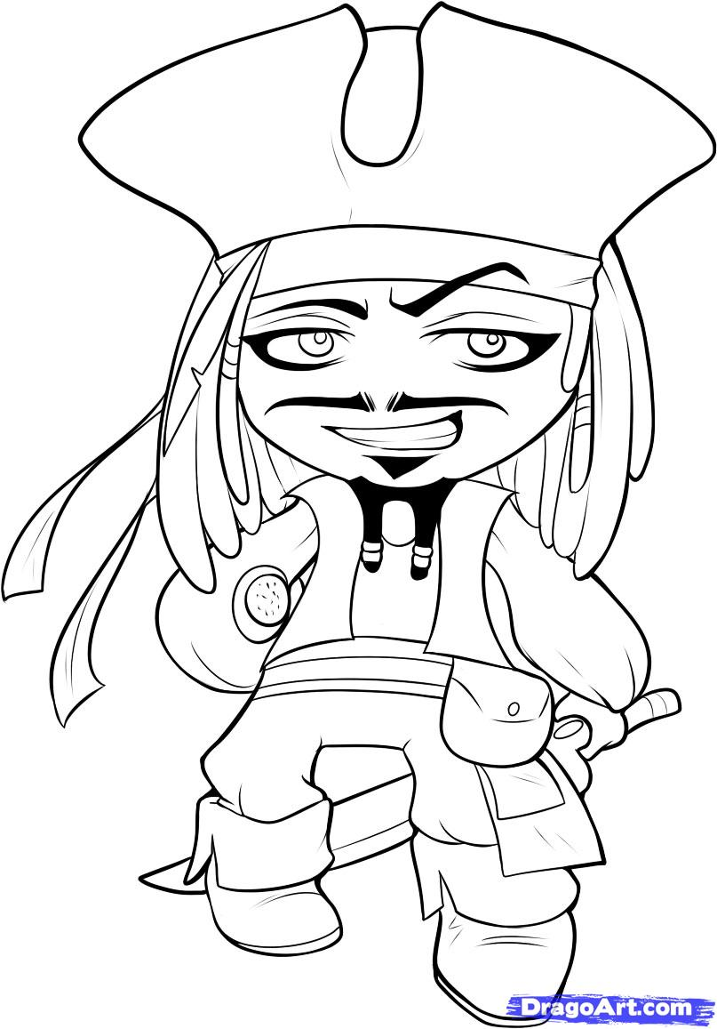 Drawn caricature pirate Chibi Jack by to draw