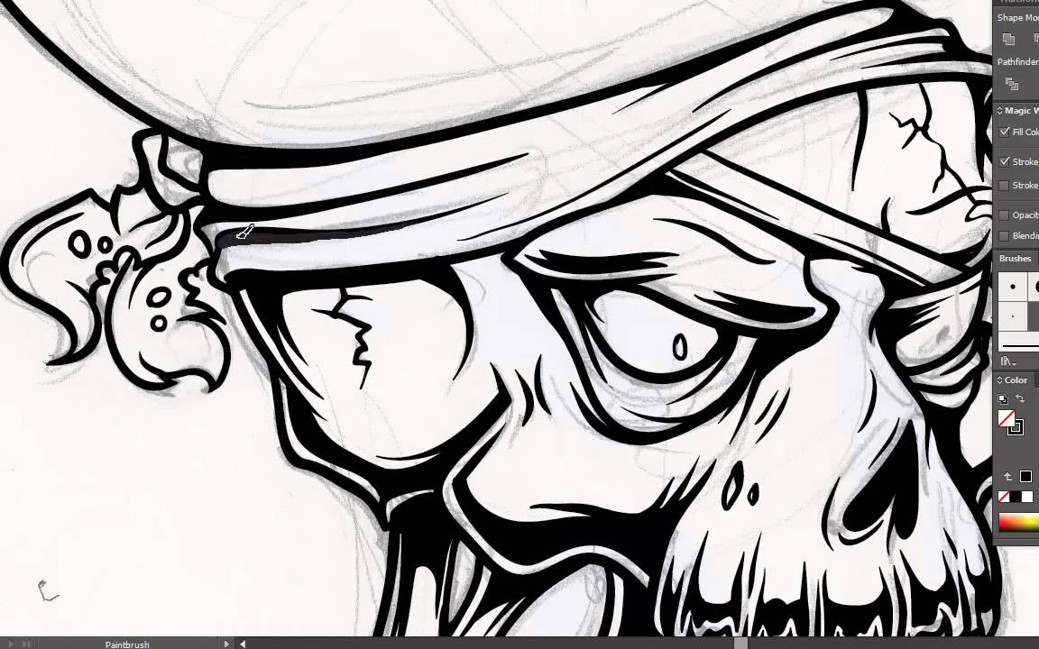 Drawn skeleton monkey  a Adobe Illustrator How