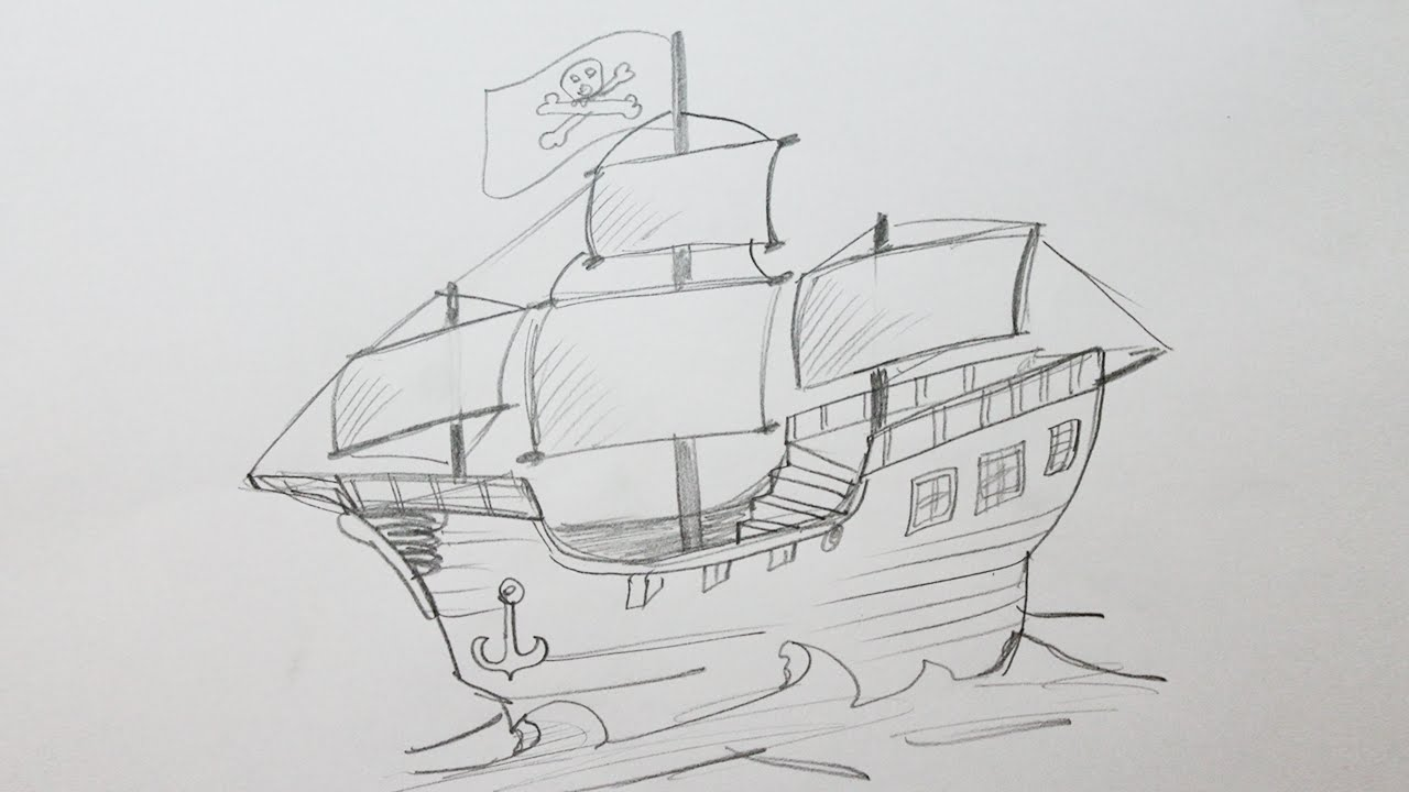 Drawn pirate pirate ship Pirate a to draw How