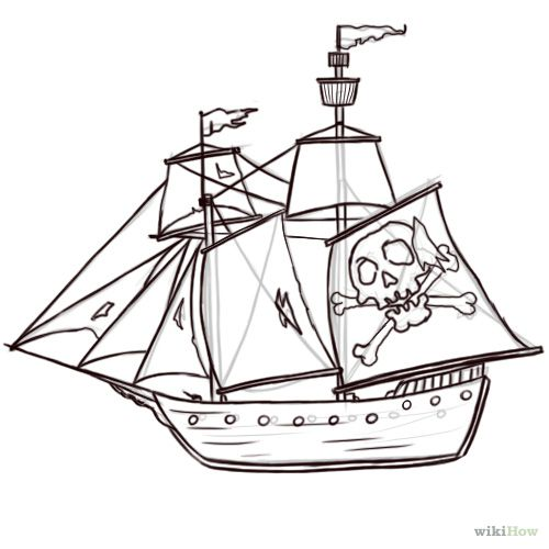Drawn pirate pirate ship Steps Pinterest 8 wikiHow best