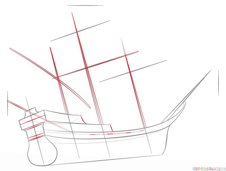 Drawn pirate pirate ship Ship pirate step tutorials draw