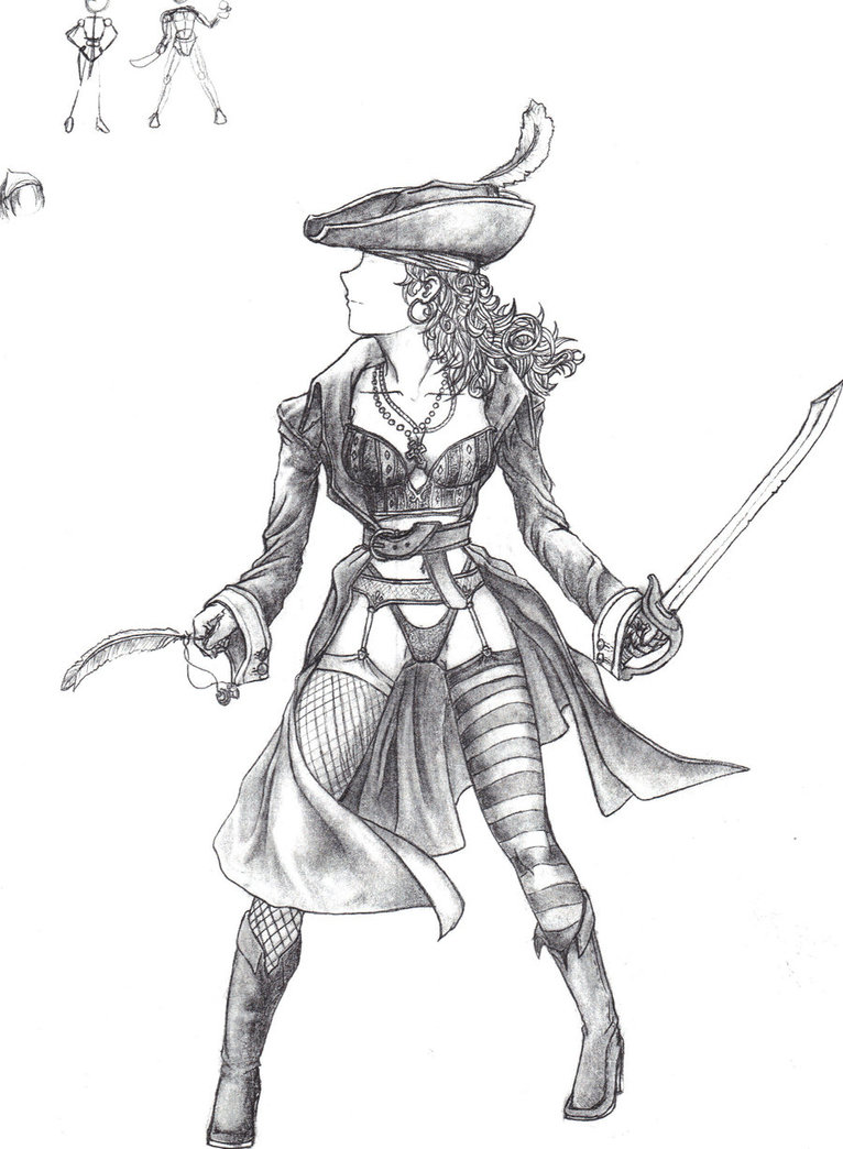 Drawn pirate pirate woman Pirate Pirate Drawing girl photo#3