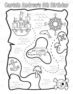 Drawn pirate printable Page kids Treasure or childrens