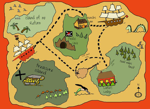 Drawn pirate printable  Pirate maps Pinterest and