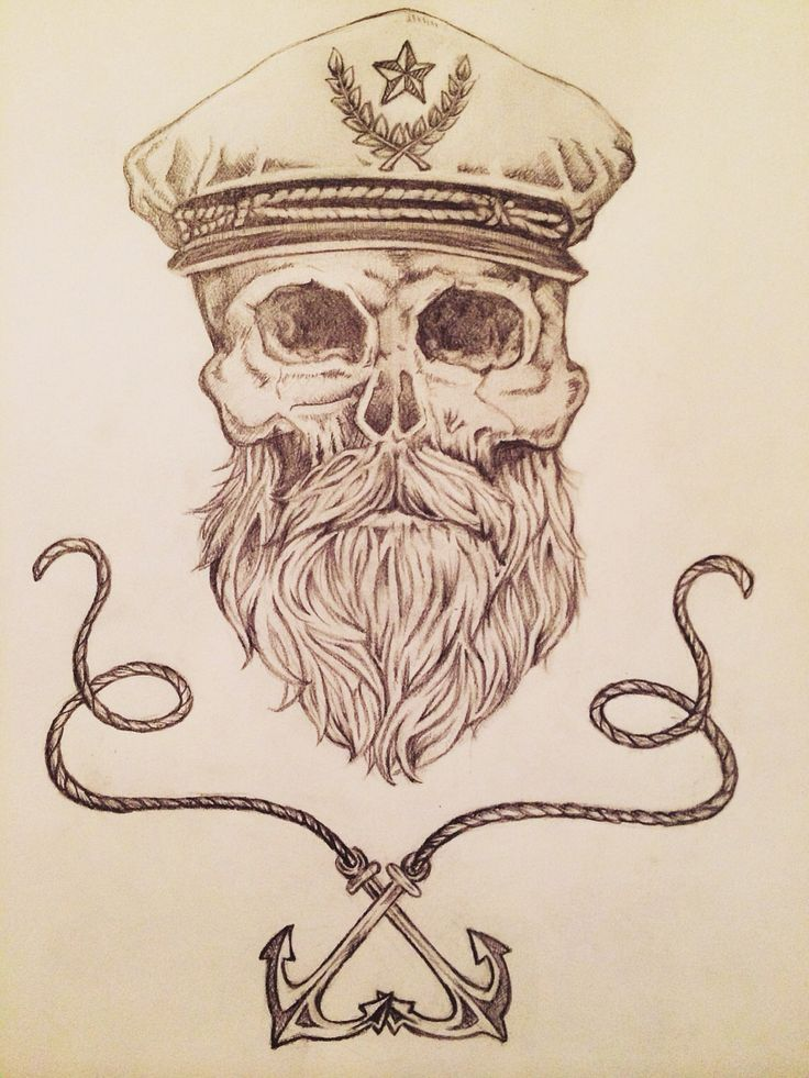 Drawn anchor skull Another skull Pirate Best drawing