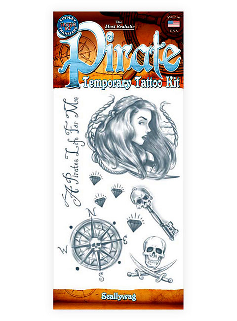 Drawn pirate scallywag Tattoo Temporary Kit Pirate Tattoo