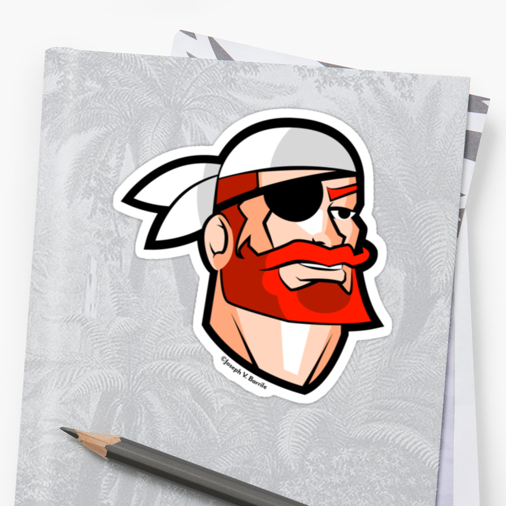 Drawn pirate scallywag A Portrait Redbeard Scallywag Pirate: