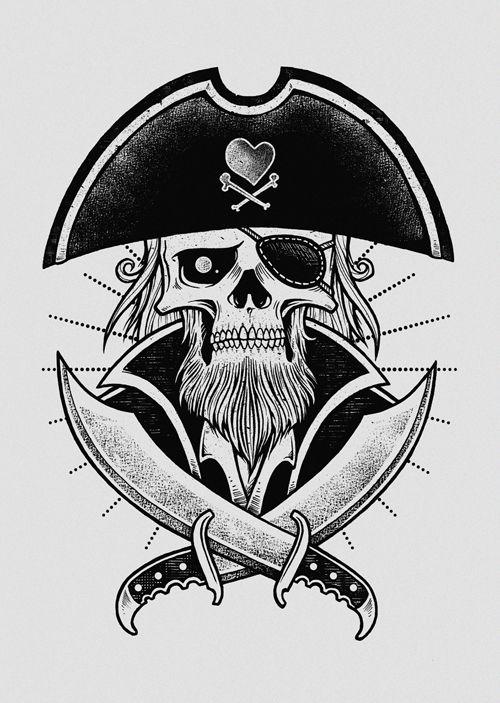 Drawn pirate sick On skull Pirate inkcorf tattoo