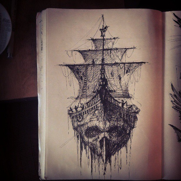 Drawn viking pirate Would tat ideas Ship DrawingGhost