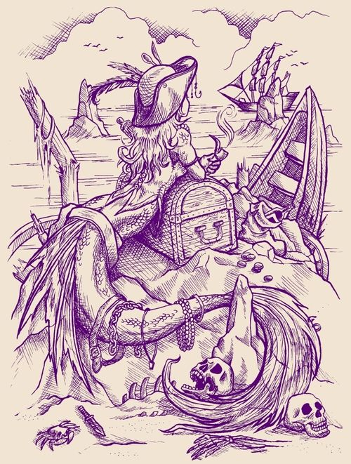 Drawn pirate sketch Pirate this ideas drawing mermaid