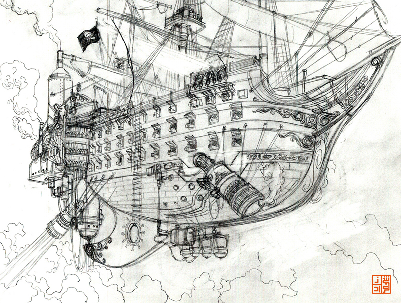 Drawn pirate sketch On ship by rough Arshad