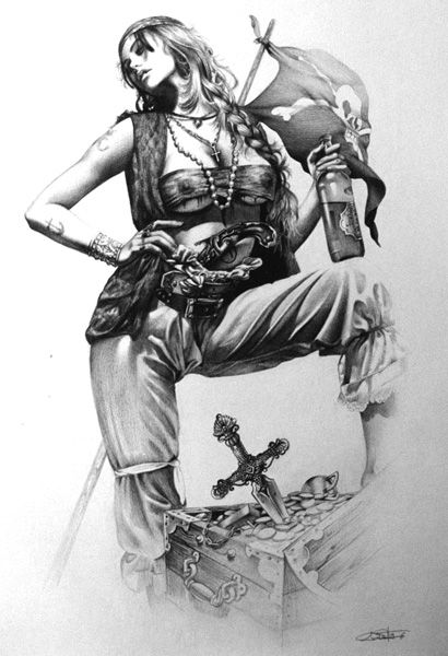Drawn pirate sketch Tattoo woman on 25+ The