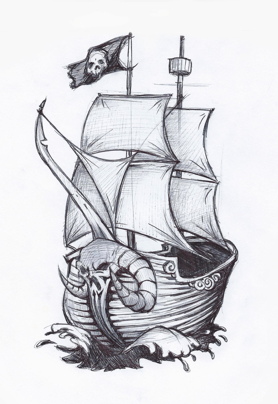 Drawn pirate sketch  Illustrations sketch ship a