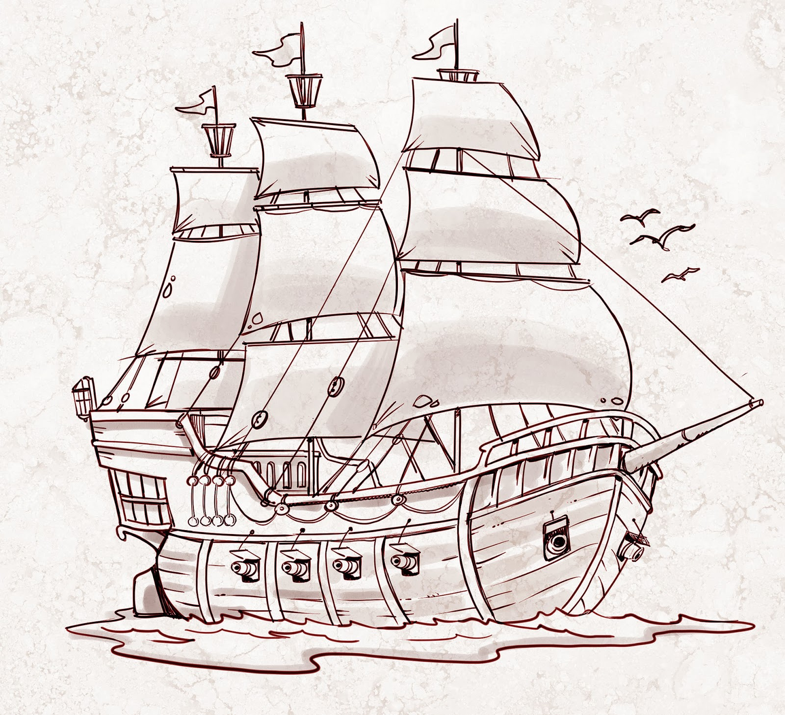 Drawn pirate spanish For book sketch How to