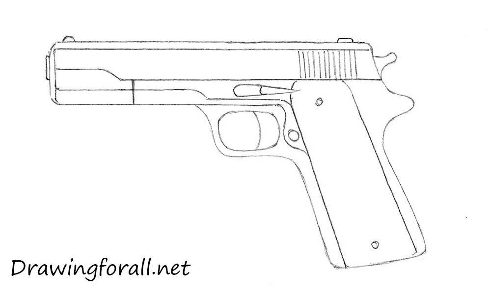 Drawn pistol gun bullet DrawingForAll to beginners draw a