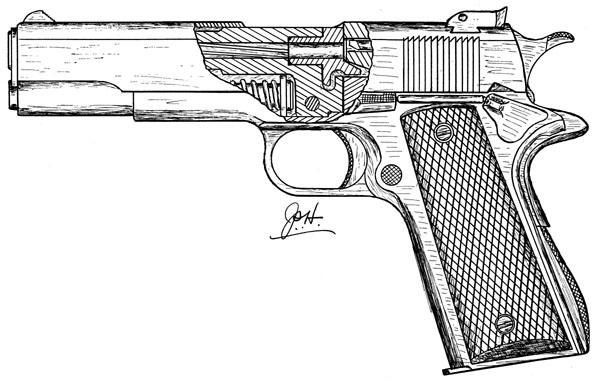 Drawn pistol Model for S ACE Firearms