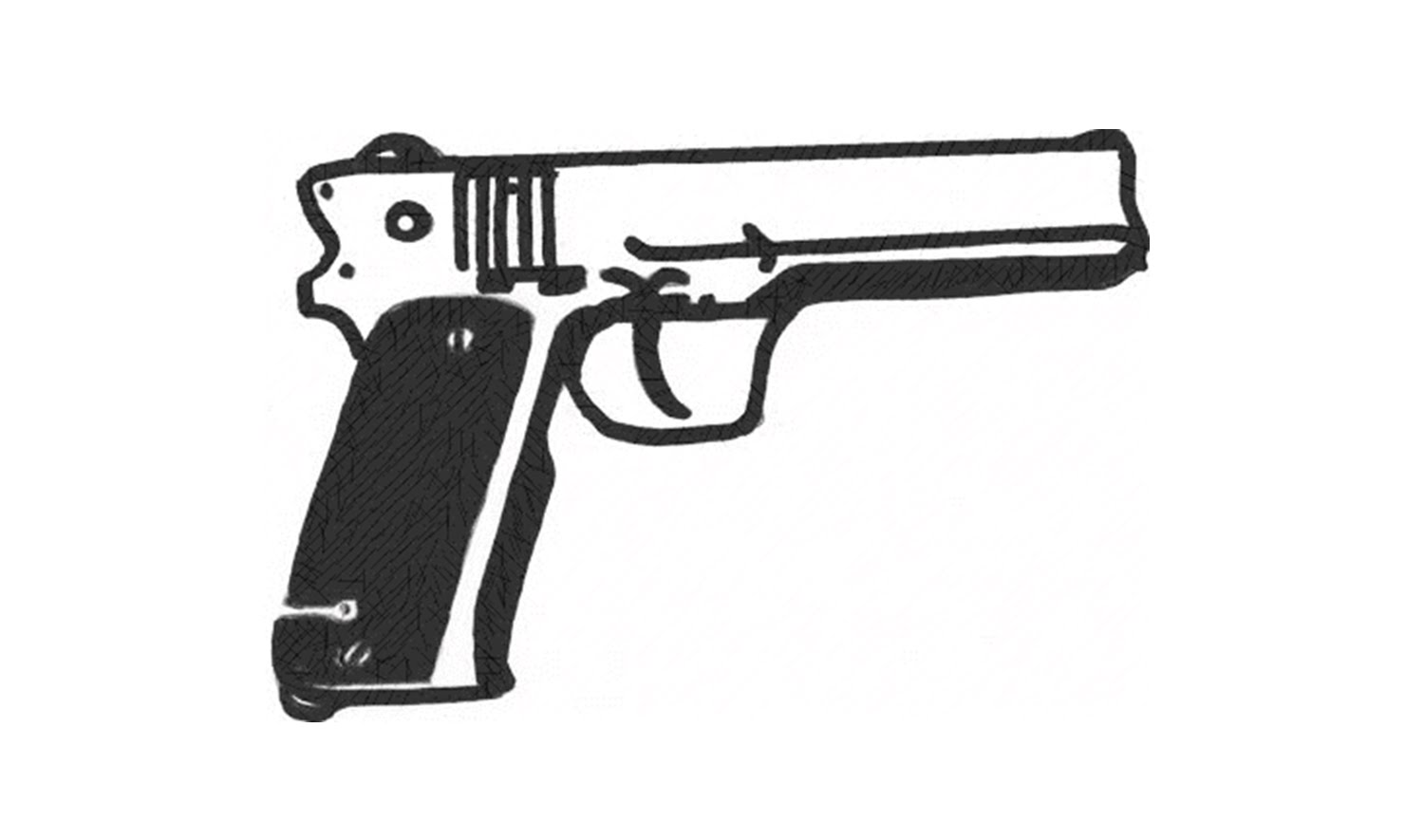 Drawn pistol hand holding To a revolver Draw a